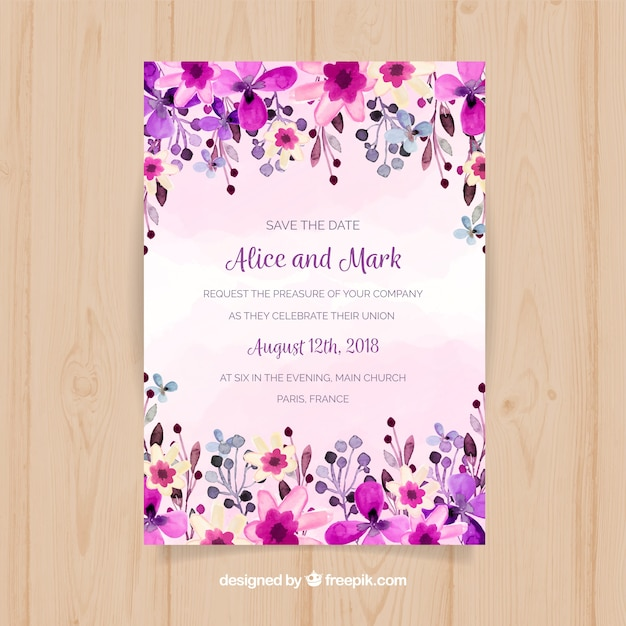Wedding invitation with purple watercolor flowers Free Vector