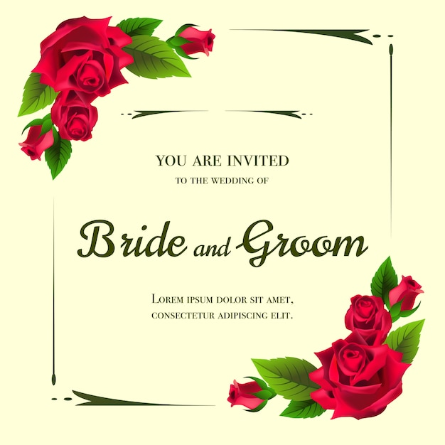 Wedding Invitation With Red Roses On Yellow Background Vector