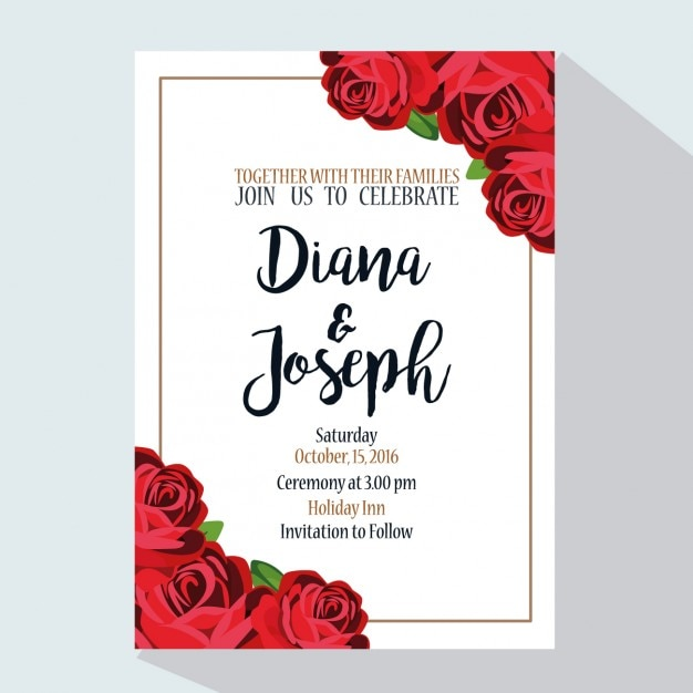 wedding invitation with red roses vector free download