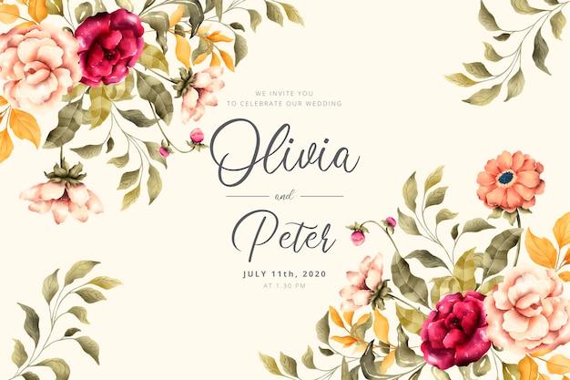 Wedding invitation with romantic flowers Free Vector