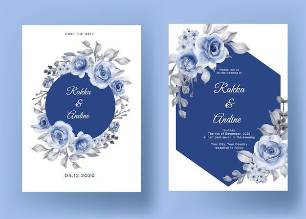 Свадебные приглашения с розой и листьями темно-синего цвета Бесплатные векторы