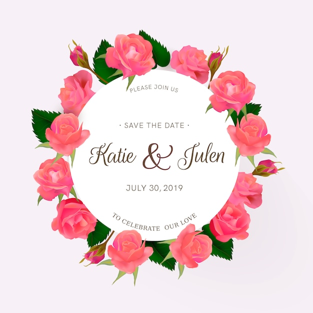 Wedding invitation with roses Free Vector