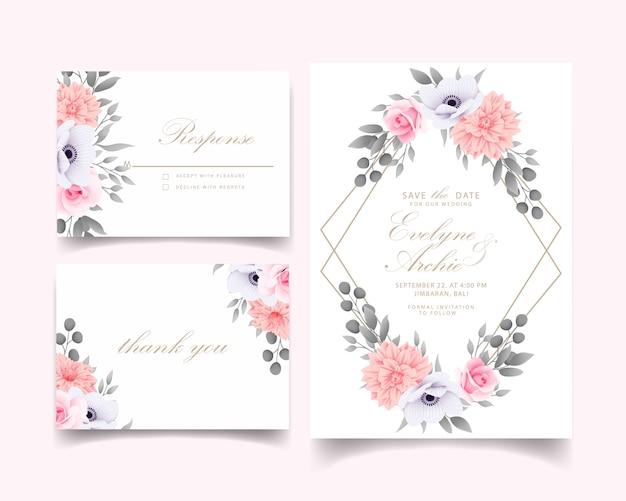 Wedding invitation with roses Premium Vector