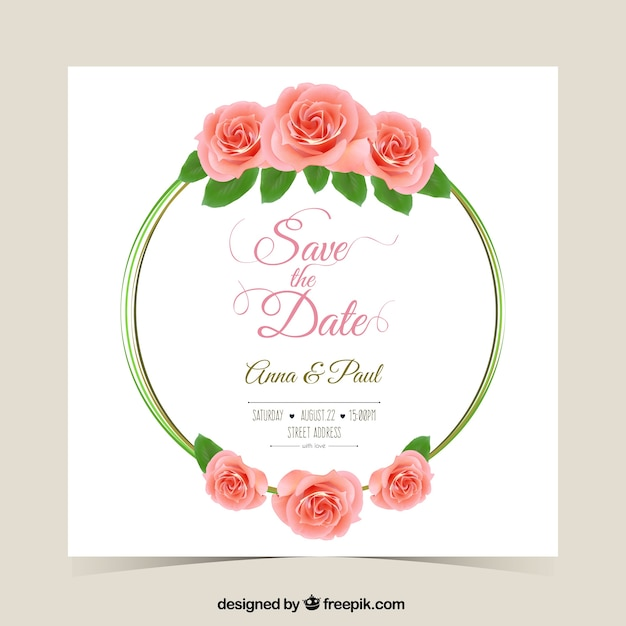Wedding invitation with roses vector premium download wedding invitation with roses premium vector stopboris Image collections