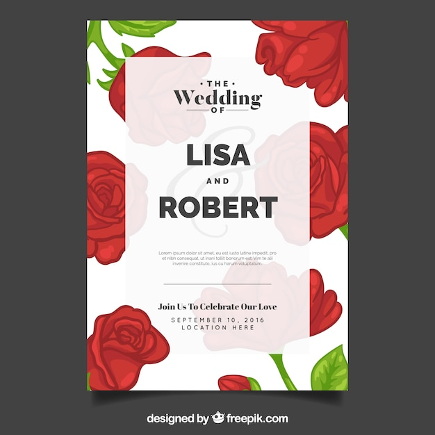 Wedding invitation with roses vector free download wedding invitation with roses free vector stopboris Images