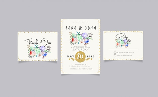 Wedding invitation with rsvp and thank you card Premium Vector