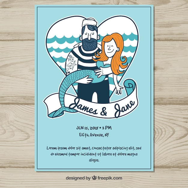 Wedding invitation with sailor and mermaid vector free download wedding invitation with sailor and mermaid free vector stopboris