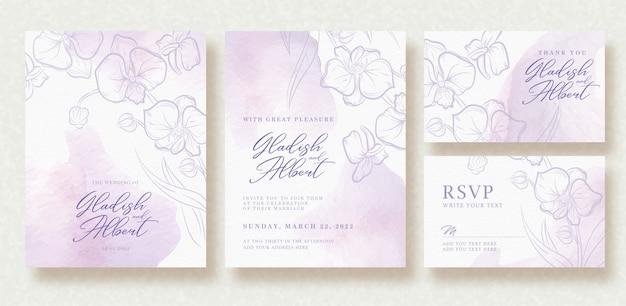 形状ブラシ水彩背景で結婚式の招待状 Premiumベクター