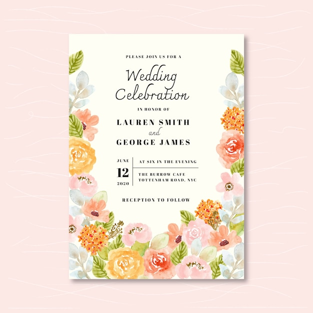 Wedding invitation with soft floral watercolor Premium Vector