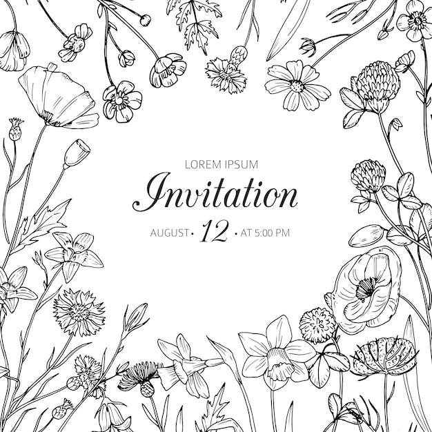 Wedding invitation with summer wild meadow flowers. spring floral retro sketch vector card Premium Vector