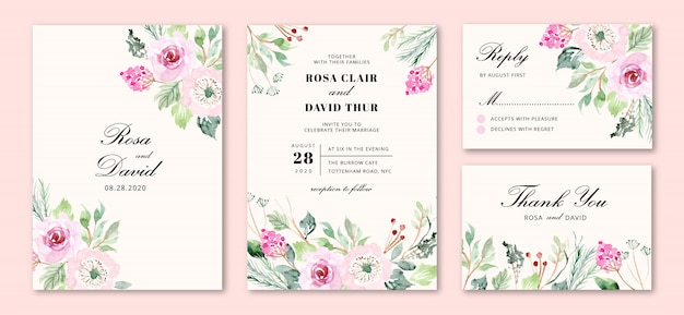 Wedding invitation with sweet pink flowers Premium Vector