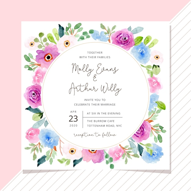 Wedding invitation with sweet watercolor floral frame