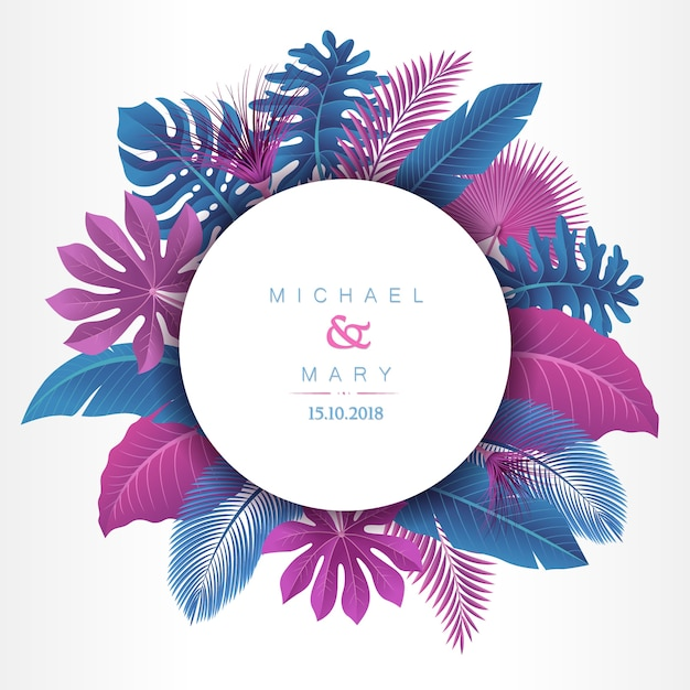 Wedding invitation with tropical leaves concept Premium Vector