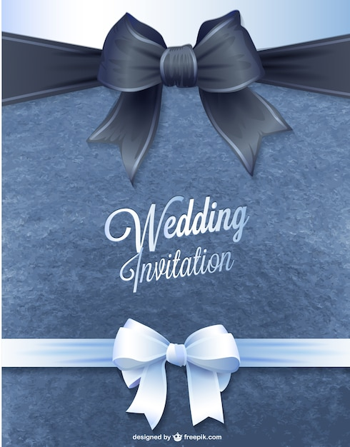 Wedding invitation with two ribbons Free Vector