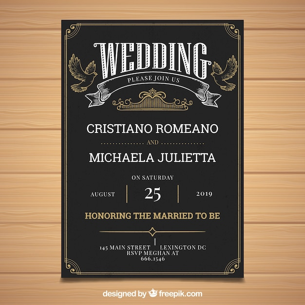 Wedding invitation with vintage style Free Vector