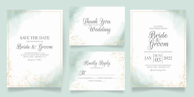 水彩画の背景を持つ結婚式の招待状 Premiumベクター