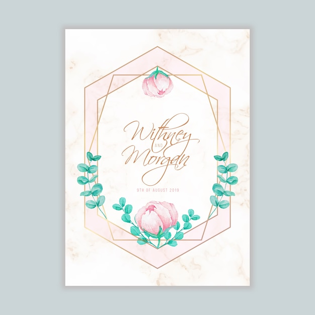 Wedding invitation with watercolor floral and geometric frame vector wedding invitation with watercolor floral and geometric frame premium vector stopboris Choice Image