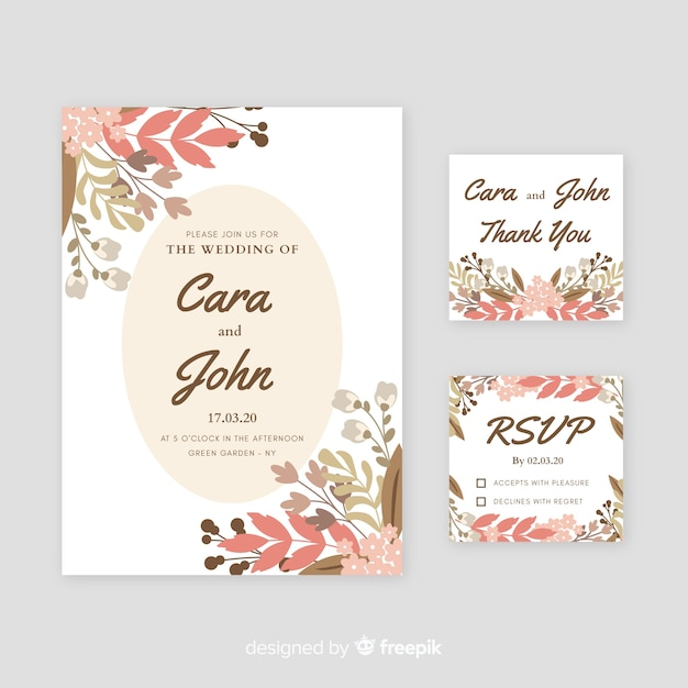 Wedding invitation with watercolor floral elements Free Vector