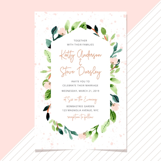 Wedding invitation with watercolor floral frame Premium Vector