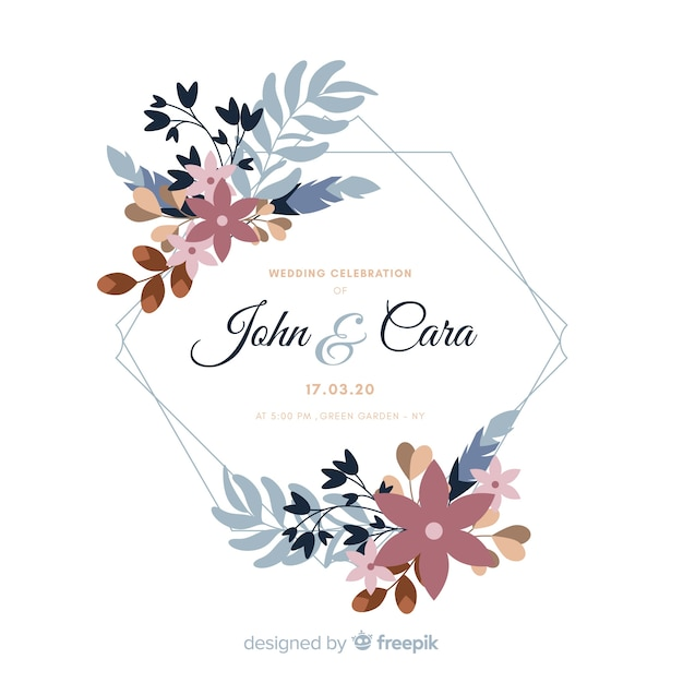 Wedding invitation with watercolor floral frame Free Vector