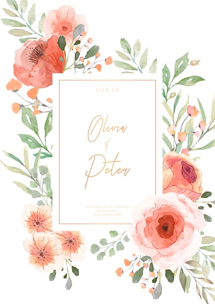 Wedding invitation with watercolor flowers ready to print Free Vector