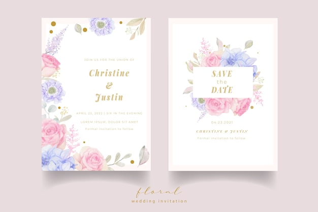水彩花と結婚式の招待状 無料ベクター