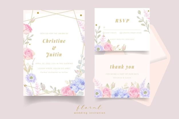 水彩花と結婚式の招待状 Premiumベクター