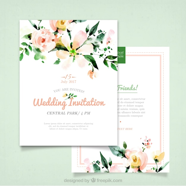Wedding invitation with watercolor flowers vector free download wedding invitation with watercolor flowers free vector stopboris Gallery