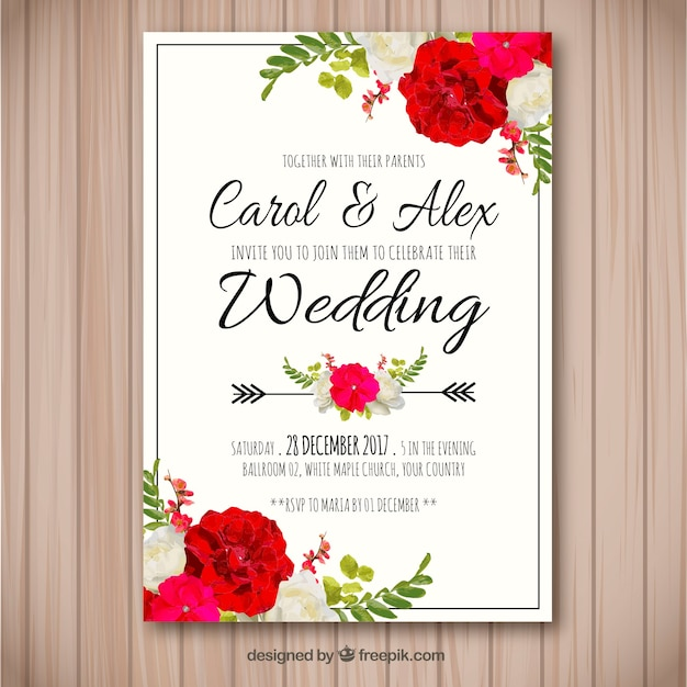 Wedding invitation with watercolor flowers Free Vector