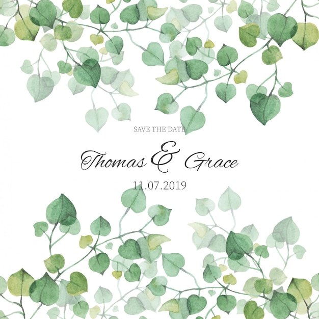 Wedding invitation with watercolor leaves Free Vector