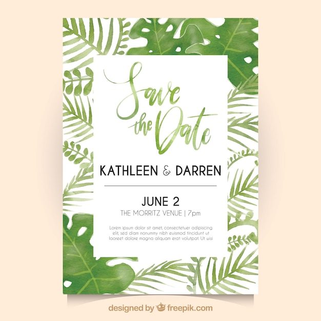 Wedding invitation with watercolor leaves vector free download wedding invitation with watercolor leaves free vector stopboris Image collections