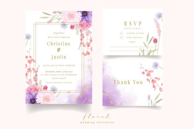 Приглашение на свадьбу с цветами акварельной розы, анемонов и гербер Бесплатные векторы