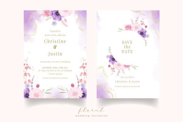 水彩のバラ、アネモネ、ガーベラの花の結婚式の招待状 無料ベクター