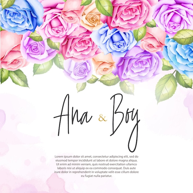 Wedding invitation with watercolor rose flowers Premium Vector