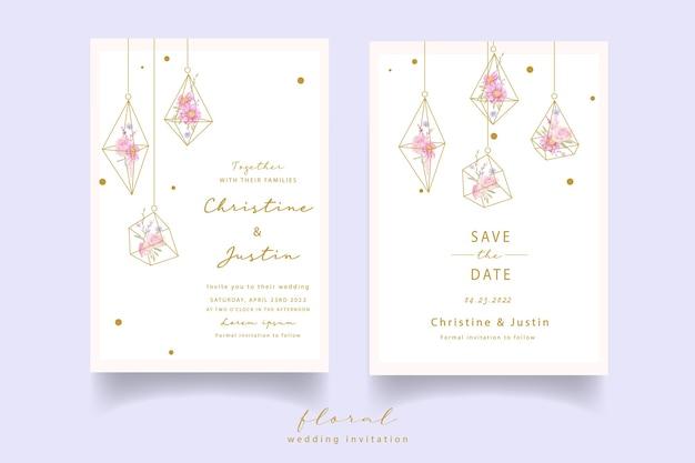 水彩のバラとアネモネの花の結婚式の招待状 無料ベクター