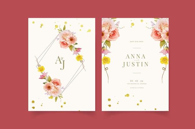 Приглашение на свадьбу с акварельными розами и циннией Бесплатные векторы