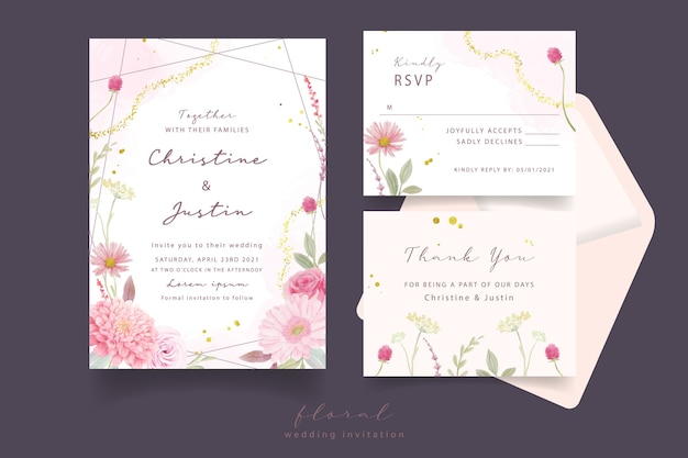 Wedding invitation with watercolor roses, dahlia and gerbera flowers Free Vector