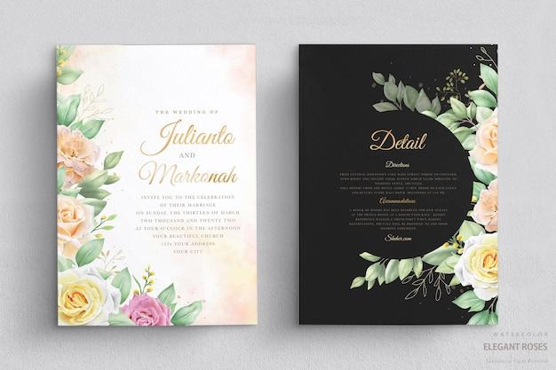 Invito a nozze con rose acquerellate Vettore gratuito