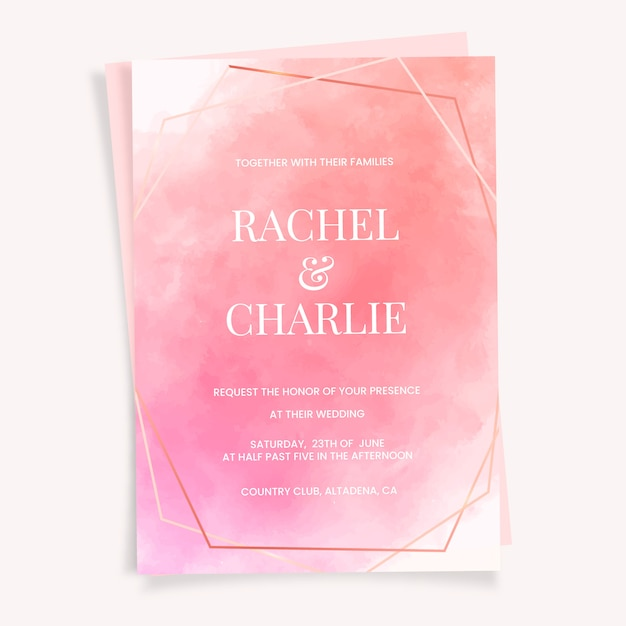 Wedding invitation with watercolor texture Free Vector