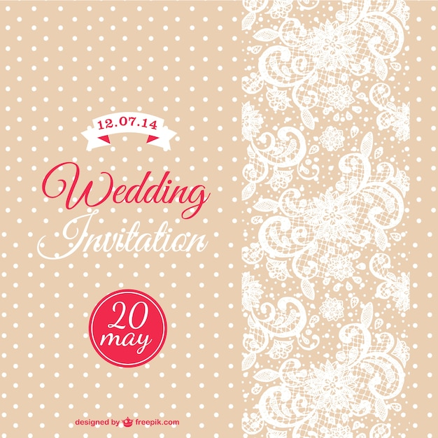 Wedding invitation with white dots and flowers vector free download wedding invitation with white dots and flowers free vector stopboris Image collections