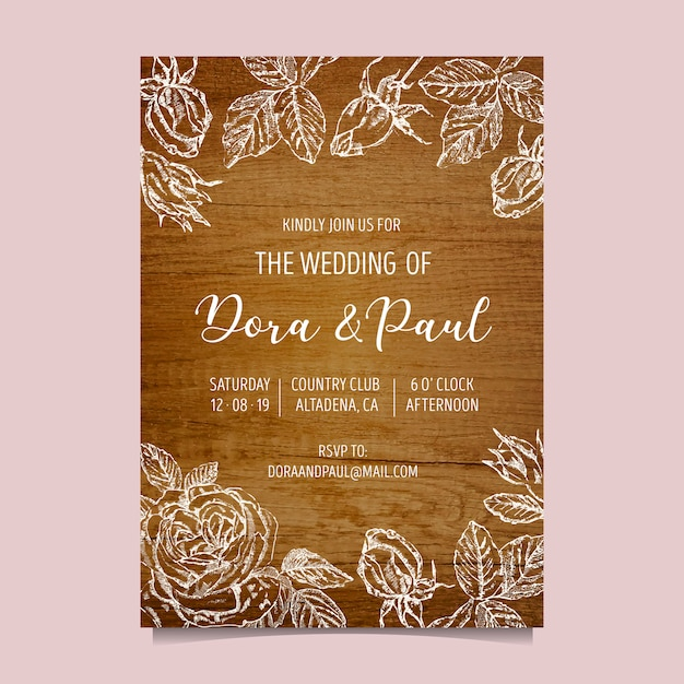 Wedding invitation with wooden background Free Vector