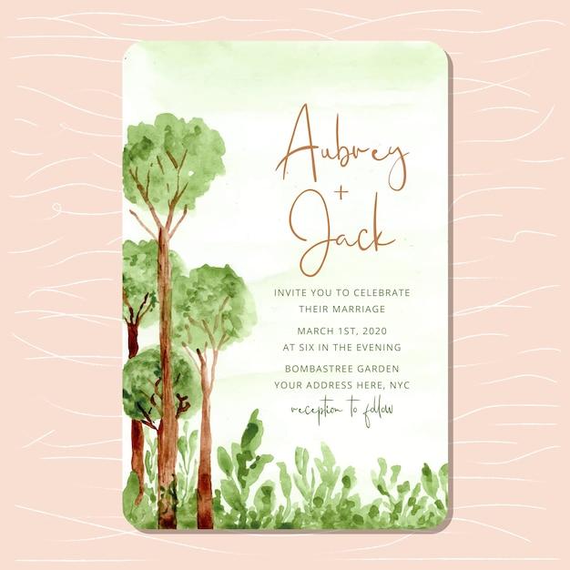 Wedding invitation with woodland watercolor background Premium Vector