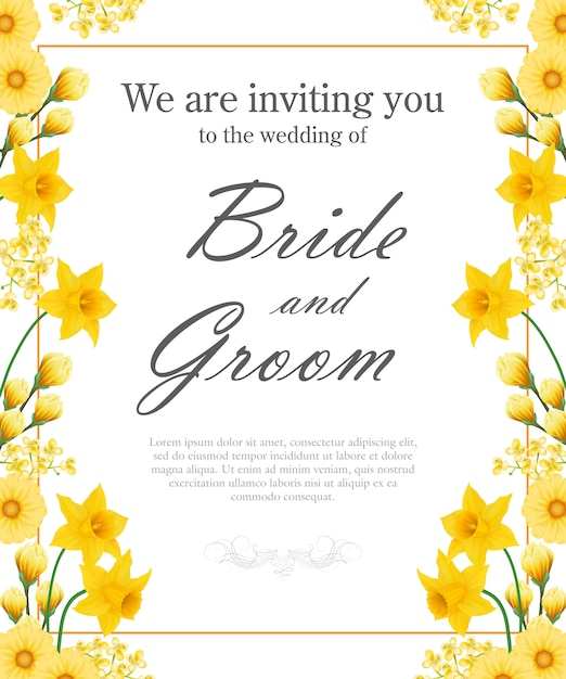 Wedding invitation with yellow daffodils and gerberas. Free Vector