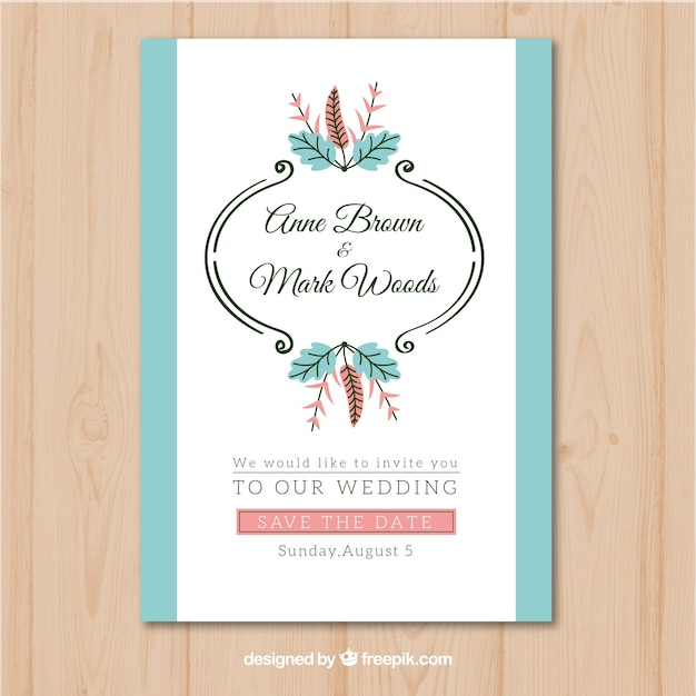 Wedding invitation withvintage ornaments