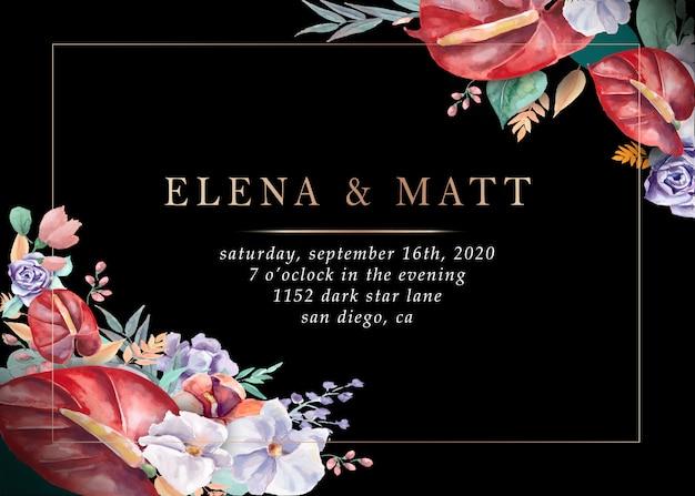 結婚式招待状。 Premiumベクター