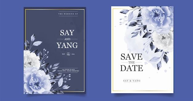 青い牡丹の手描きの結婚式の招待状カードテンプレート Premiumベクター