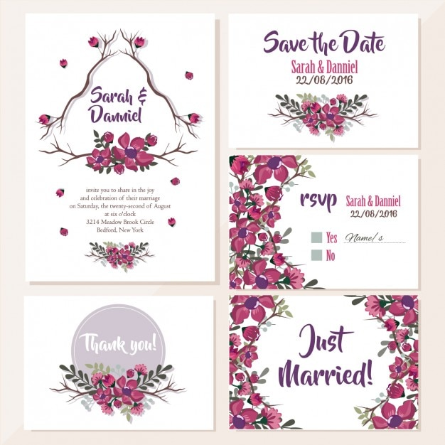 Wedding invitations floral design Free Vector