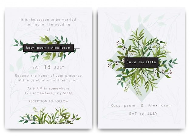 Wedding invitations save the date card design with elegant garden anemone. Premium Vector