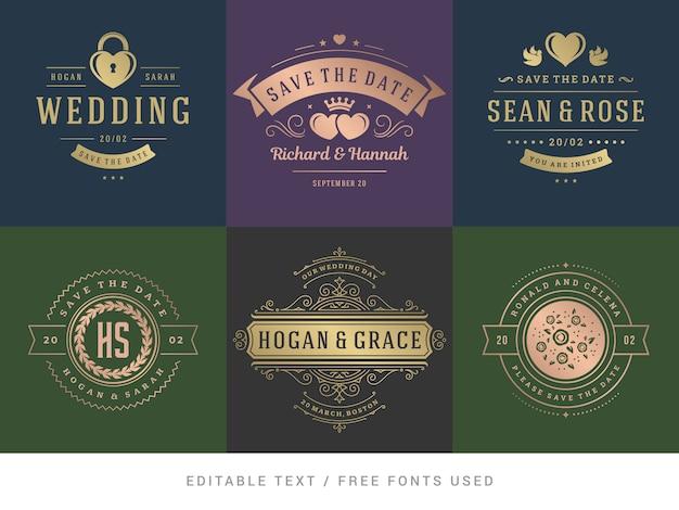 Wedding invitations save the date titles vector set. Premium Vector