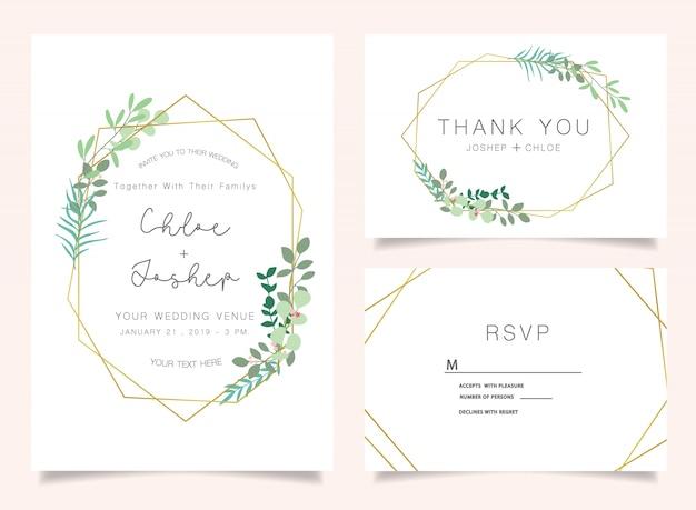 Wedding invitations set Premium Vector